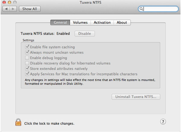 tuxera NTFS built-in uninstaller