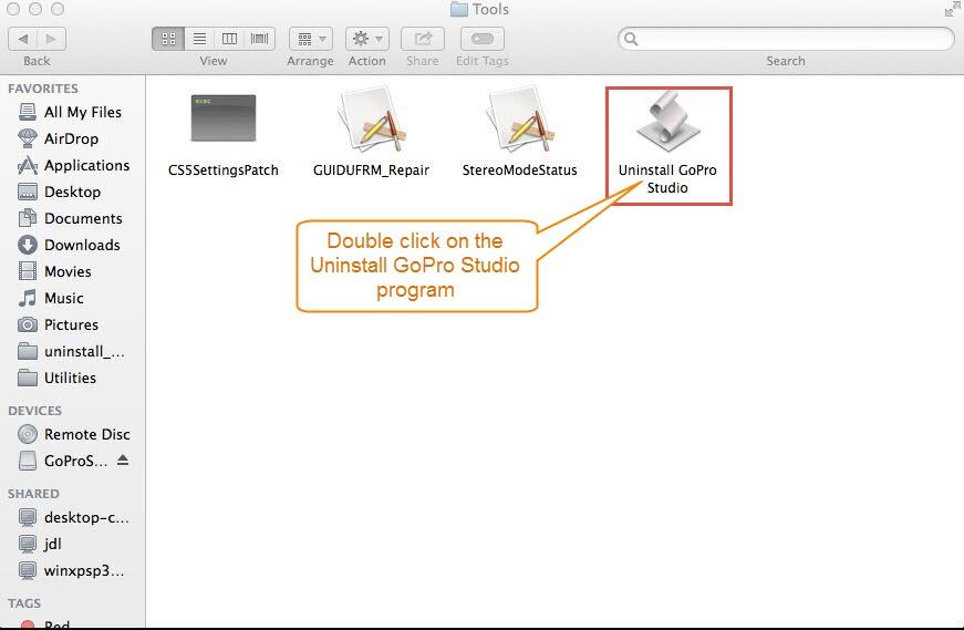 Uninstall GoPro Studio via built-in tool 2