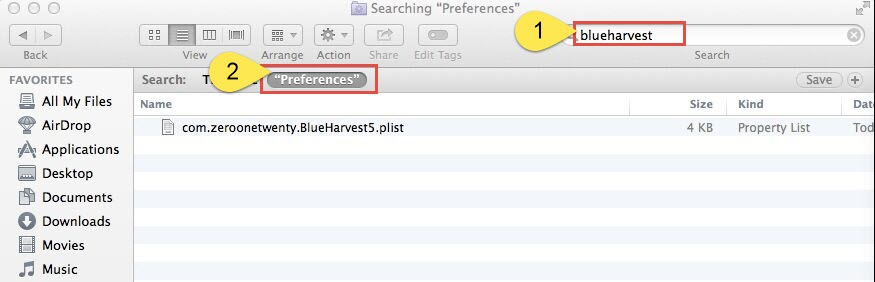 delete BuleHarvest preferences files